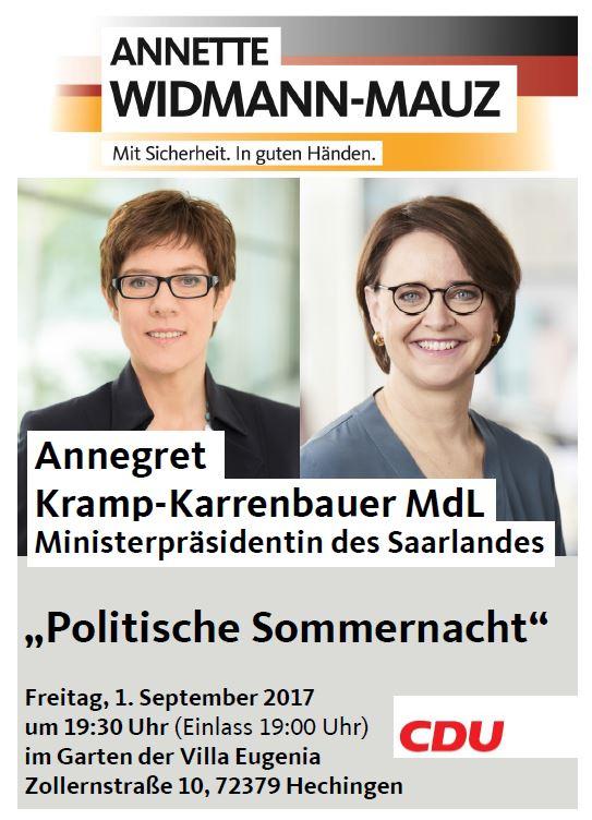 Politische Sommernacht mit Ministerpräsidentin Annegret Kramp-Karrenbauer