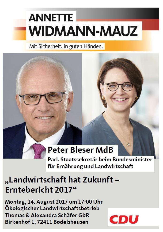 """Annette Widmann-Mauz und Landwirtschaftsstaatssekretär Peter Bleser laden zum """"Erntebericht"""" auf den Birkenhof in Bodelshausen"""