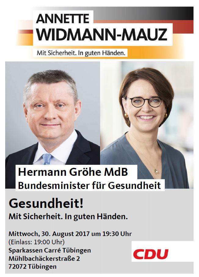 """Bundesgesundheitsminister Hermann Gröhe MdB zum Uniklinikbesuch und """"Gesundheitscheck"""" in Tübingen"""