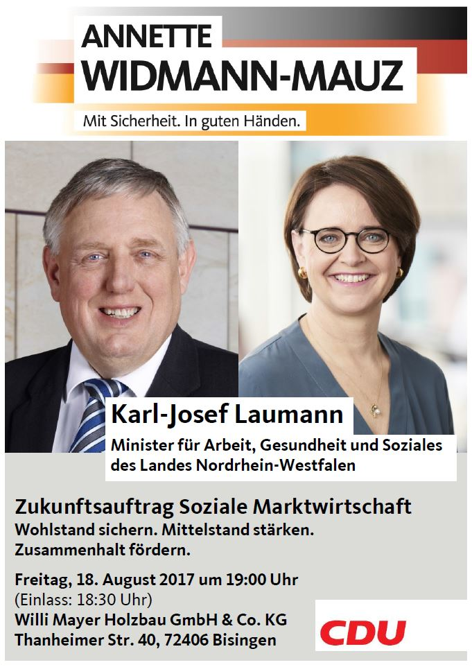 Wirtschaft, Wohlstand und Rote Würste: NRW-Sozialminister Karl-Josef Laumann spricht in Bisingen zur Zukunft der Sozialen Marktwirtschaft