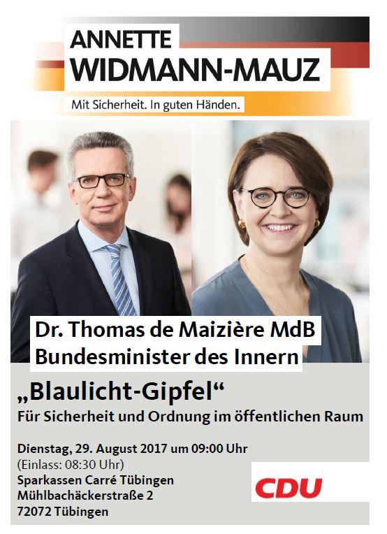 Bundesinnenminister Dr. Thomas De Maiziére in Tübingen