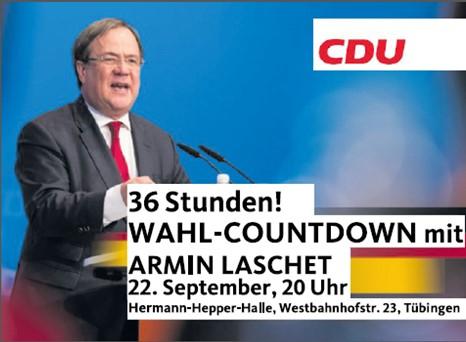 Ministerpräsident Armin Laschet in Tübingen