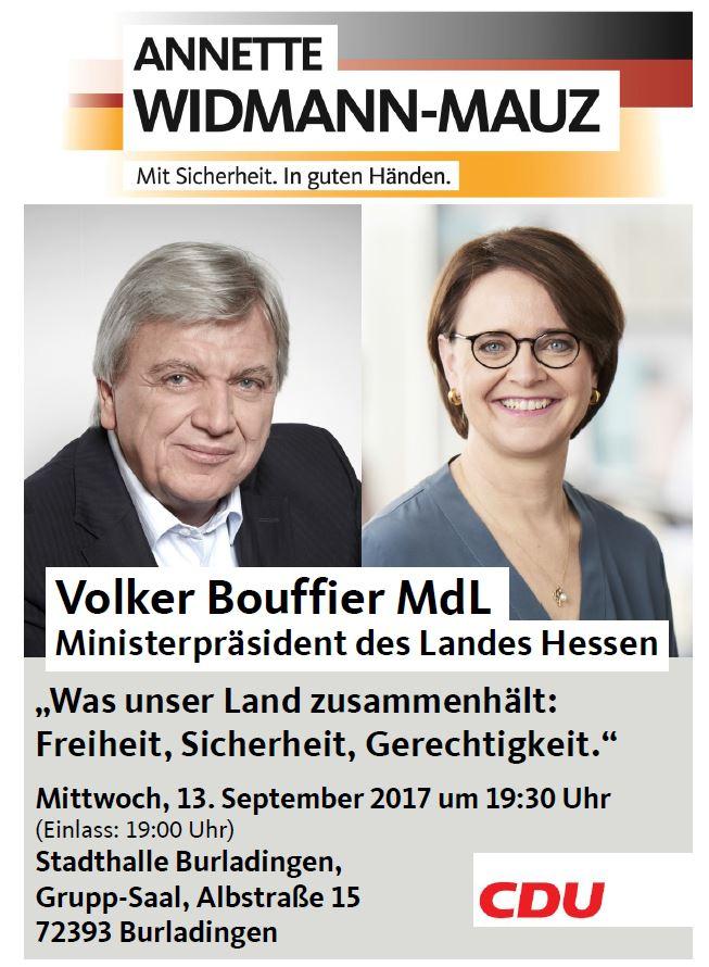 Hessens Ministerpräsident Volker Bouffier in Burladingen