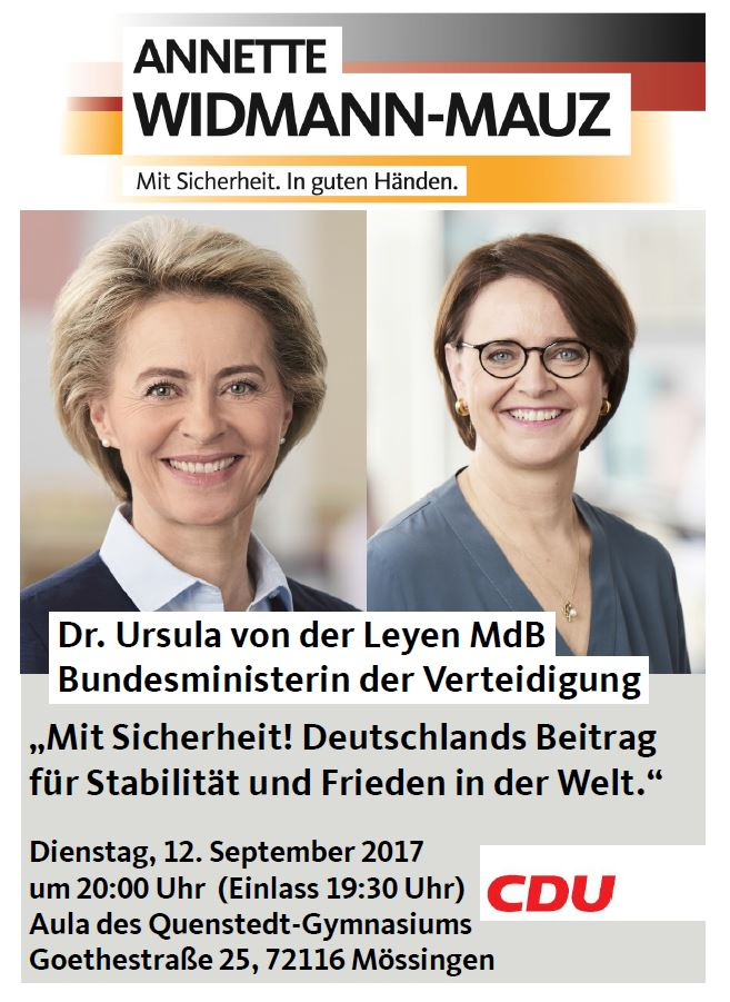 Verteidiungsministerin Dr. Ursula von der Leyen MdB in Mössingen