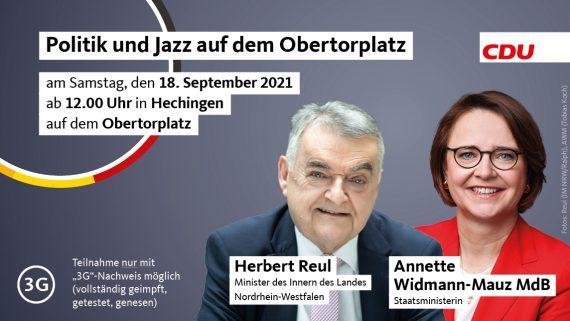 Politik und Jazz auf dem Obertorplatz mit Herbert Reul Minister des Innern des Landes Nordrhein-Westfalen